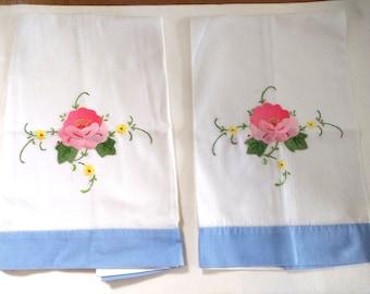 Vintage Applique floral tea towels