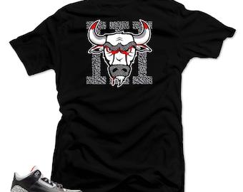 1955ae9f887268 Shirt to match Jordan Retro 3 Black Cement sneakers.Bull 3 Black Tee