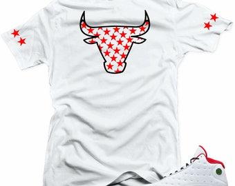 new style 1a132 86589 Shirt to match Air Jordan History of Flight Retro 13. Bull 13 White Tee