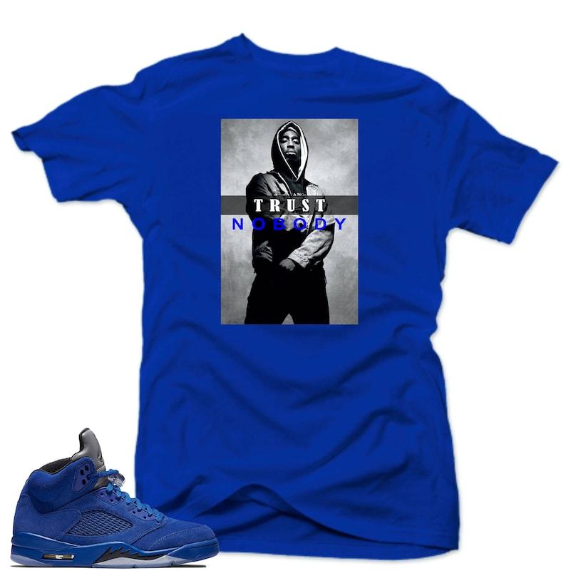 28333b2ab18ca2 Shirt to match Air Jordan Retro 5 Blue Suede Sneakers.Trust