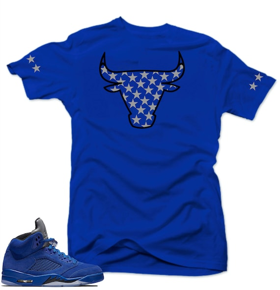 low priced 0fdc1 7ce71 Shirt to match Air Jordan Retro 5 Blue Suede Sneakers.Bull 5 Royal tee