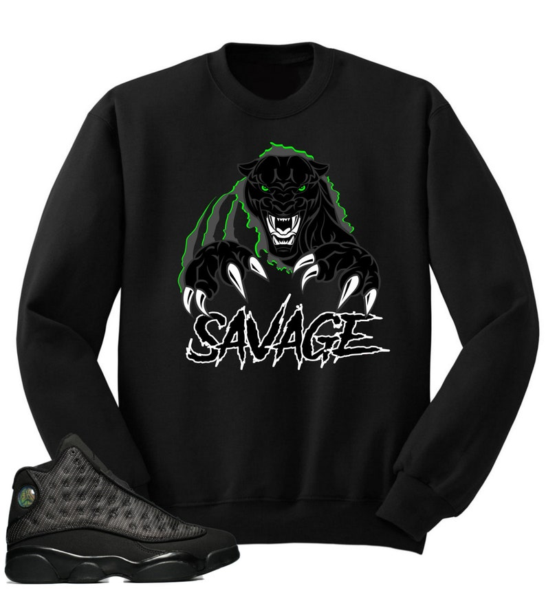 finest selection 7fafe 81d53 T shirt to match Air Jordan 13 Black Cat Sneakers   Etsy