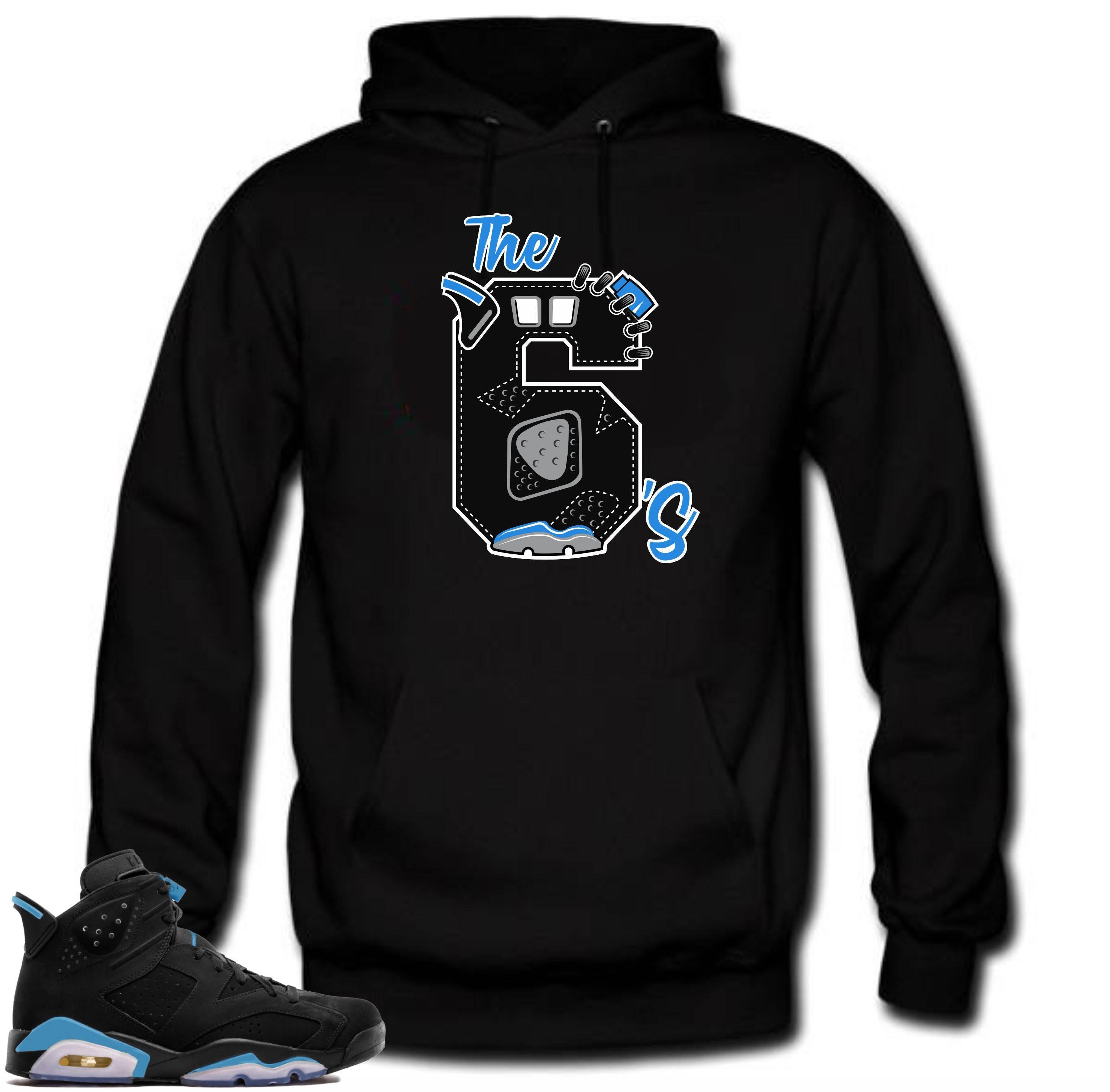 7ba8e1585b6 Hoodie to match Air Jordan 6 UNC The 6's Black | Etsy