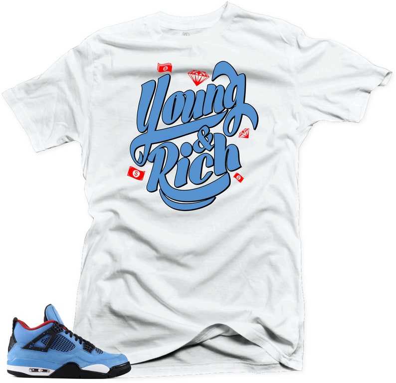 039308b9e43a Shirt to Match Air Jordan 4 Cactus Jack Young   Rich White Tee