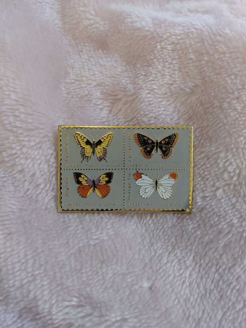 USPS Postage Stamp Pin with Four Butterfly Species by Jayne co 23 cent
