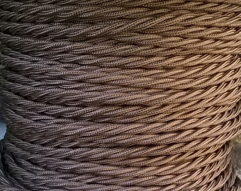 fabric covered Brown Cable in Vintage Twisted Braided style - For period lighting projects