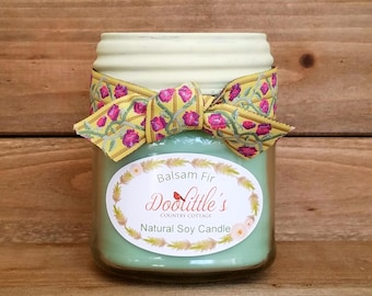 Candle - Soy Candle - Balsam Fir Candle, 8 oz Candle, Natural Candle, Green Candle, Mason Jar Candle, 8 oz Soy Candle, Christmas Candle