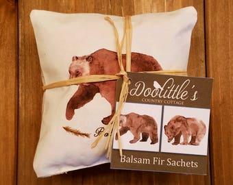 Sachet - Balsam Fir Sachets- 2 Bear Sachets, Rustic Decor, Bear Decor, Fragrant Pillow, Sachet, Scented Pillow, Grizzly Bear,  Mini Pillow