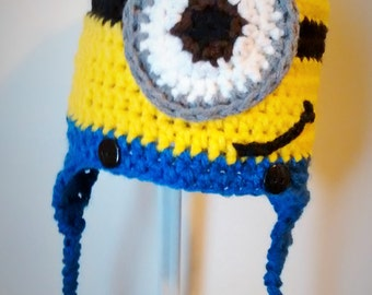 Minion Hat with Earflaps and Braids for Babies