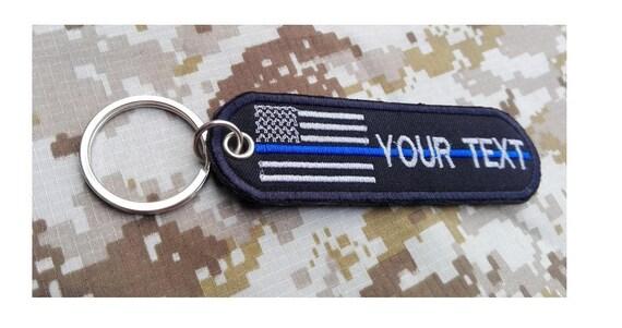 Alabama Flag Custom name text  USA Alabama flag key chain thin blue line police embroidered patch key chain key ring size tag bag11 x 3.3 cm