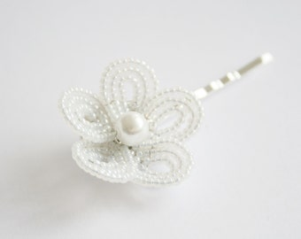 hair accessories for flower girl - white flower hair pins - flower girl - communion hair accessories