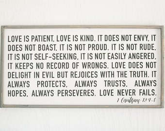 Love is Patient Love is Kind - Wood Sign