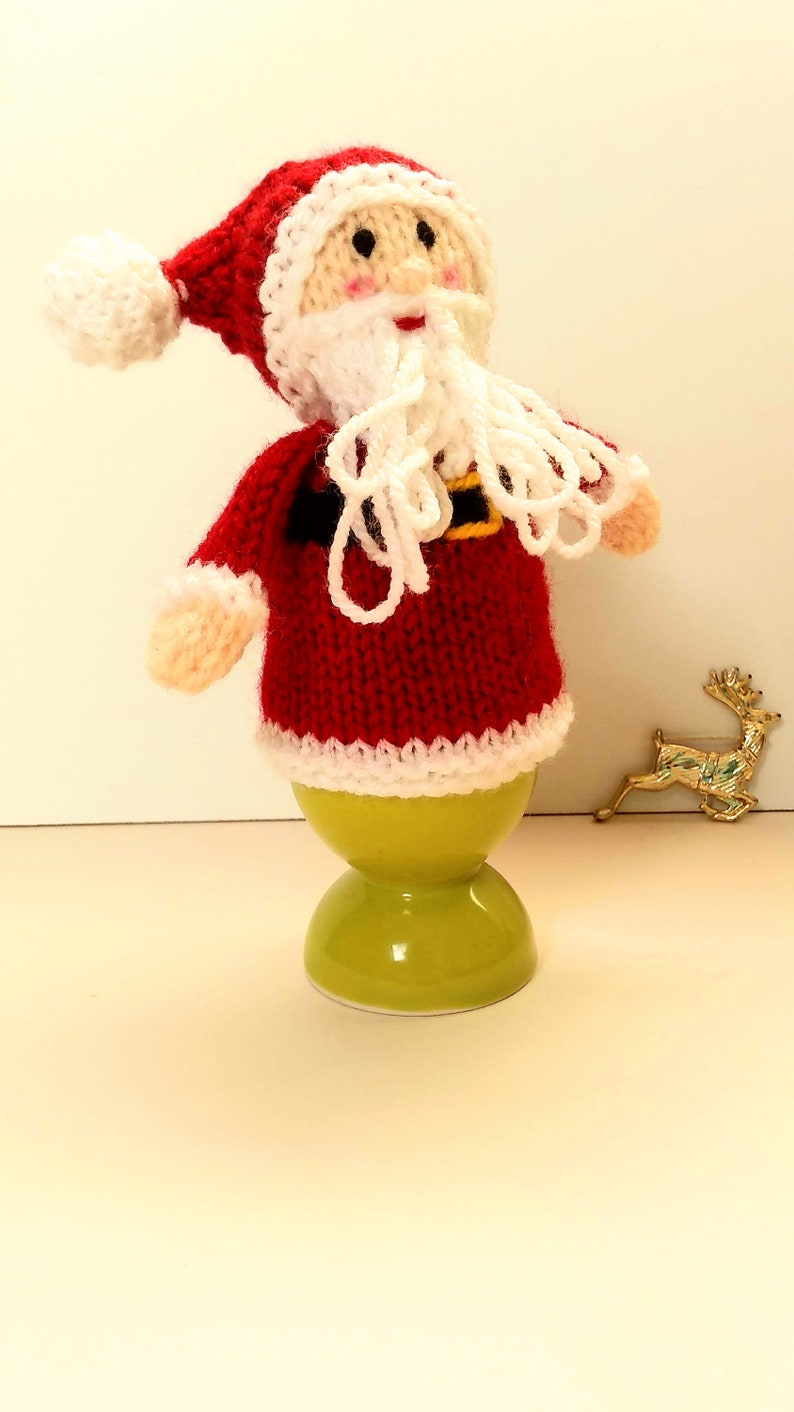 Knit a Santa egg cover Santa Claus egg cosy knitting pattern Instant download PDF Father Christmas egg cosy knitting pattern