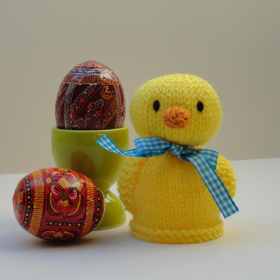 Knitted chick egg cosy duckling egg cosy yellow chick egg | Etsy