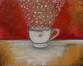 "Whimsical tea cup ""Icy Melody"" Original Wall Art Oil Painting"