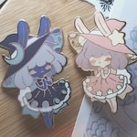 Moon & Star Bunny Pins
