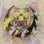 Sailor Moon Super + Luna Enamel Pin - Anime lapel pin - glitter & gold