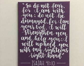 Isaiah 41:10 Bible Verse Calligraphy Quote on Canvas with Deep Purple Plum Background, Home Decor, Wall Hanging/Art