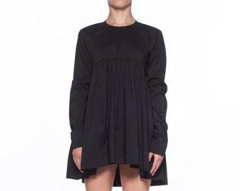 Short Black Dress, Holiday Dress, Women Black Dress, New Year Clothing, Steampunk Dress, Minimalist Clothing, Long Sleeved Dress,