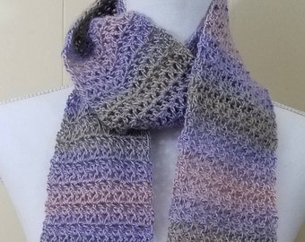 Pastel purple, pink and green Variegated Scarf