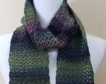 Purple and Green Variegated Scarf
