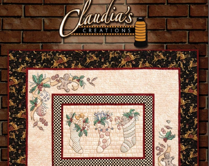 FREE SHIPPING The Stockings Were Hung Redwork Machine Embroidery Wall Quilt CD by Claudia's Creations TS60989