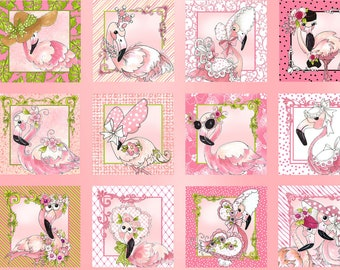 "Flamingo Fancy 23"" Quilt Panel by Loralie Designs LOD692-328"