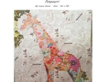 Potpourri Giraffe Collage Quilt Pattern by Laura Heine for Fiberworks LHFWP
