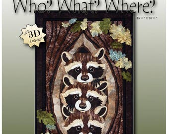 Who? What? Where? Raccoon Quilt/Wallhanging Pattern by Toni Whitney WWW030