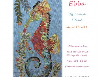 Ebba Seahorse Collage Quilt Pattern by Laura Heine for Fiberworks LHFWEBBA