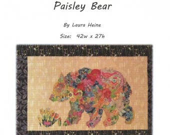 Paisley Bear Collage Quilt Pattern by Laura Heine for Fiberworks LHFWPB
