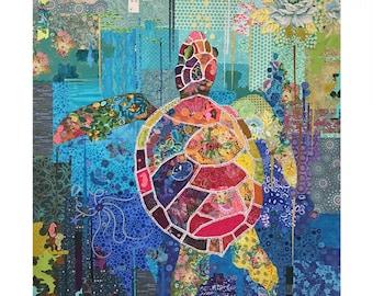 Seawell Sea Turtle Collage Quilt Pattern by Laura Heine for Fiberworks LHFWSEA