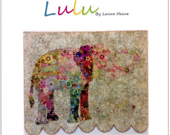 Lulu the Elephant Collage Quilt Pattern by Laura Heine for Fiberworks FBWLULU