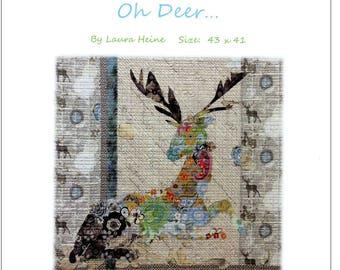 Oh Deer Collage Quilt Pattern by Laura Heine for Fiberworks FBWOD