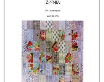 Zinnia Quilt Pattern by Laura Heine for Fiberworks FBWZ