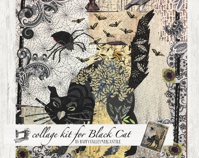 Featured listing image: Black Cat Fabric Collage Quilt Kit for Laura Heine's Collage Pattern FBWBLACKCAT