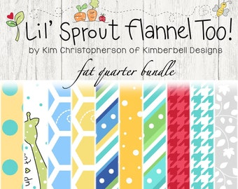 Lil' Sprout Too Flannel Fat Quarter Bundle by Kim Christopherson for Maywood Studio Fabric FQ-MASLSF-A