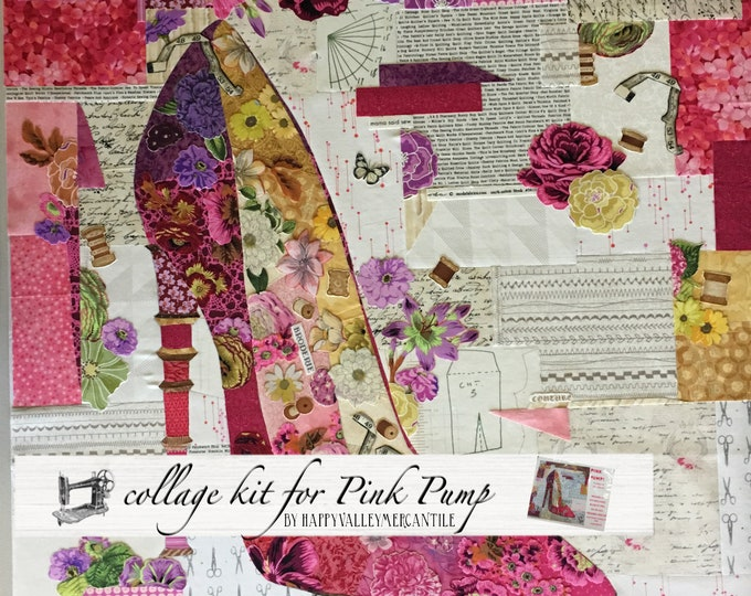 Pink Pump Fabric Collage Quilt Kit for Laura Heine's Collage Pattern FBWPINKPUMP