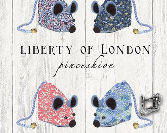 free shipping Pincushion Liberty of London Fabric Mouse Shape LINA08-04775627W