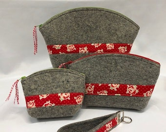 Clamshell Pouches Kit - 3 sizes of precut pouches by Wooly Felted Wonders - Die Cut Wool