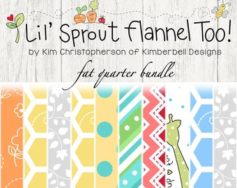 Lil' Sprout Too Flannel Fat Quarter Bundle by Kim Christopherson for Maywood Studio Fabric FQ-MASLSF-B