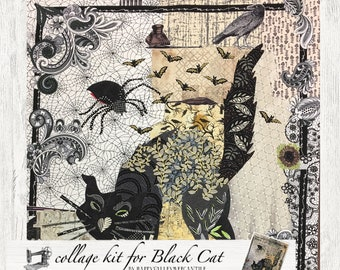 Collage Quilt Kit Black Cat for Laura Heine's Collage Pattern FBWBLACKCAT // Certified Laura Heine Instructor