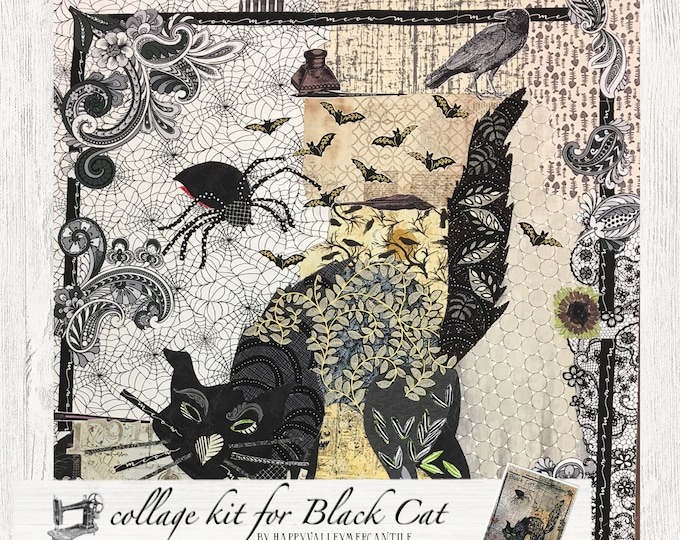 Featured listing image: Collage Quilt Kit Black Cat for Laura Heine's Collage Pattern FBWBLACKCAT // Certified Laura Heine Instructor