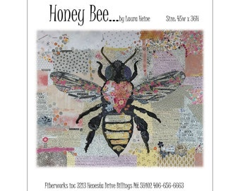 Honey Bee Collage Quilt Pattern by Laura Heine for Fiberworks FBWHBEE