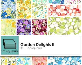 "Garden Delights II 10.5"" Squares/Stacker/Layer Cake by In The Beginning Fabrics SQ-IBFGDT"