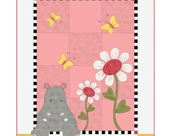 FREE Shipping Hannah the Hippo Quilt Kit by Deb Grogan for Maywood Studio KIT-MASHAH