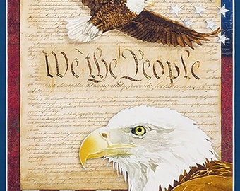 "Patriots We The People 23"" Fabric Panel // Short Seam // by Lynnea Washburn for Robert Kaufman AWHD-18018-202"