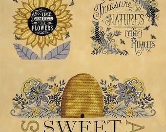 """Bee Grateful Bee Blocks 23"""" Panel // Deb Strain // Moda 19960 12 Honey Yellow"""