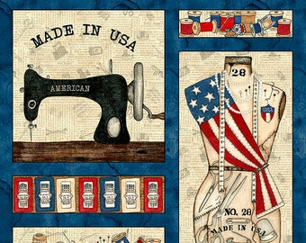 """Sew American Sewing Machine and Notions Fabric Panel 24"""" by Blank Quilting 1192P- 41 Ivory"""