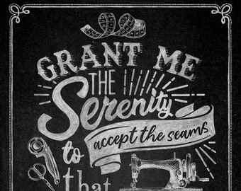 """Sewing is My Happy Place 24""""x44"""" Fabric Chalk Board Panel // Northcott  24217-99"""